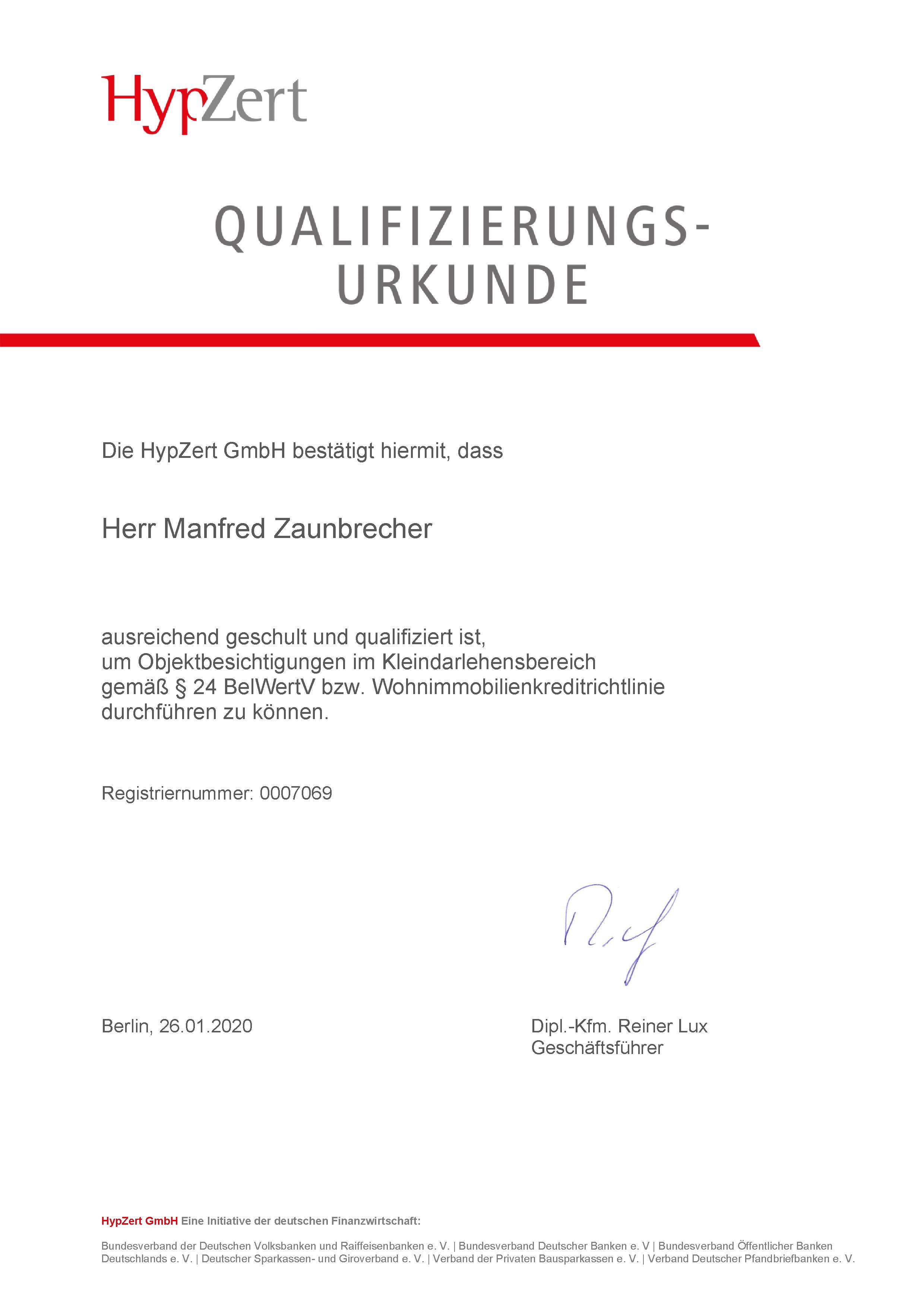 Urkunde HypZert