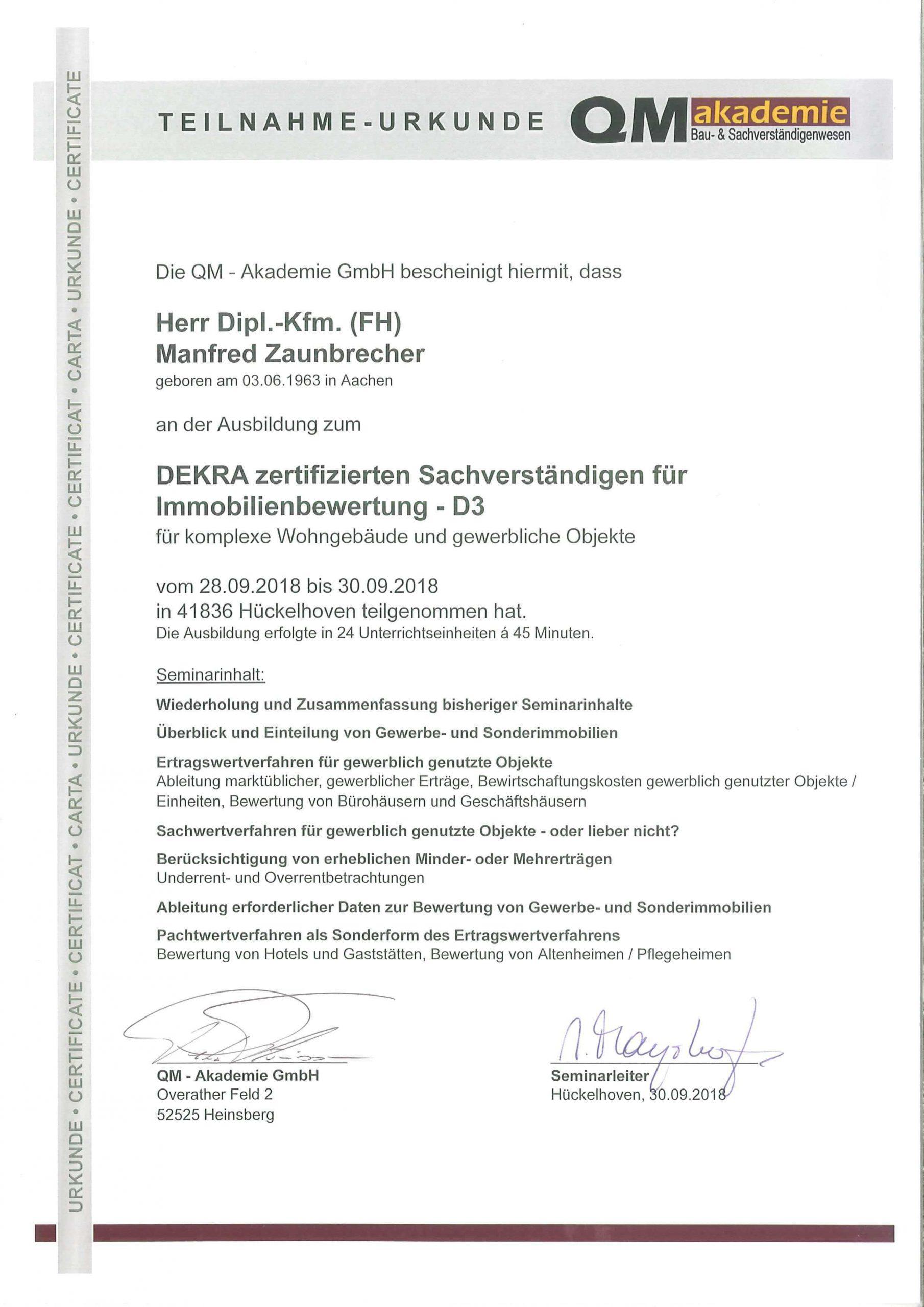 Urkunde QM Akademie