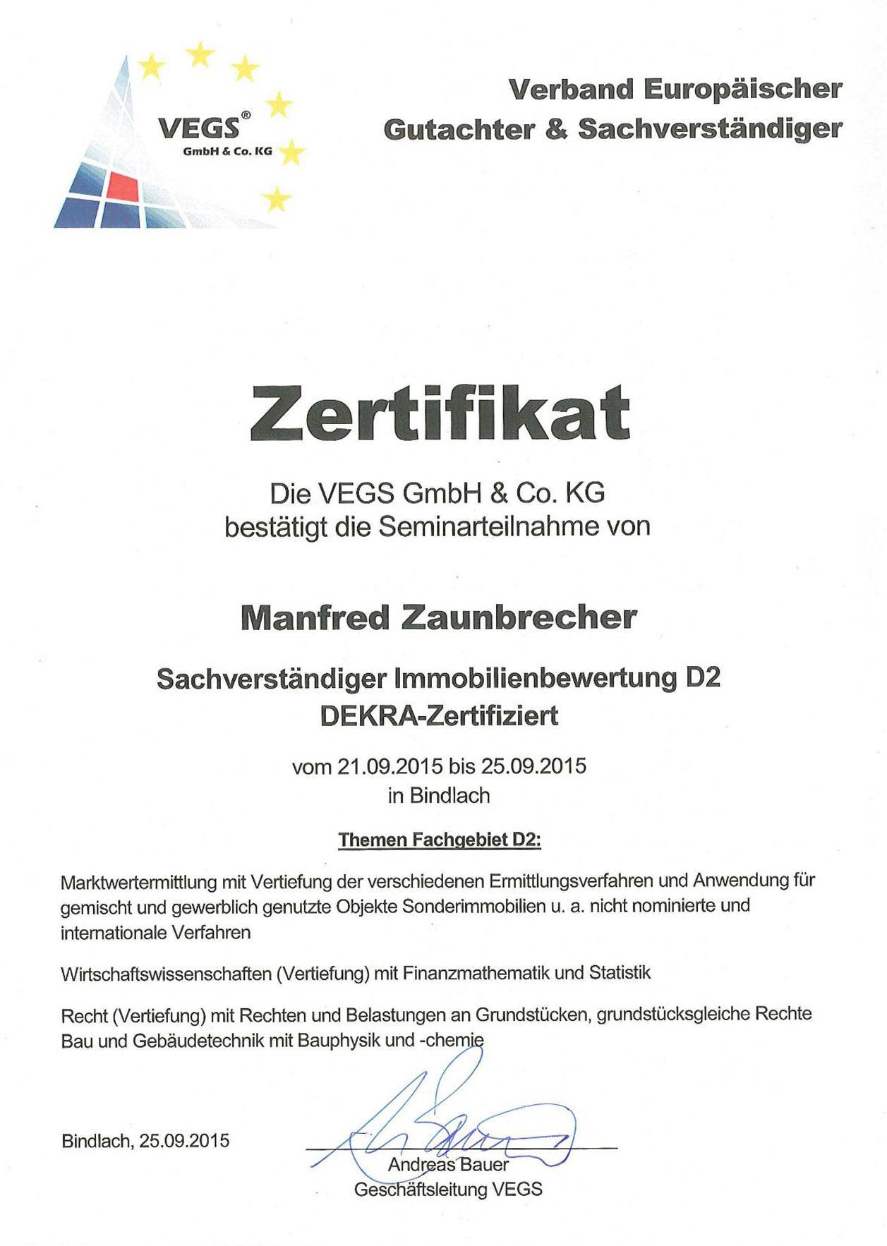 Urkunde VEGS